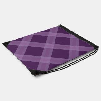 Lavender And Purple Plaid Pattern Drawstring Bag
