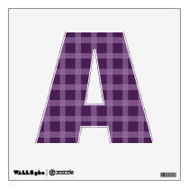 Lavender And Purple Plaid Pattern  Letter A Wall Sticker