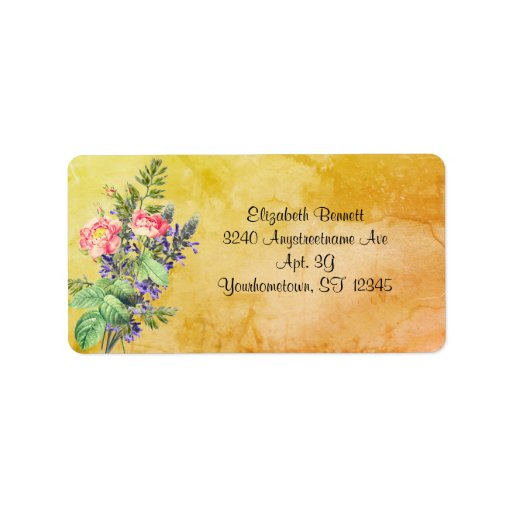 Lavender and Rose Bouquet on Marble Background Label
