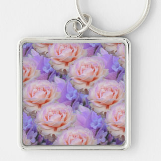 Lavender and Roses Silver-Colored Square Keychain