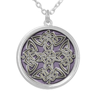 Lavender and Silver Celtic Knot Necklace