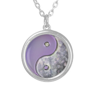 Lavender and Silver Yin-Yang Necklace