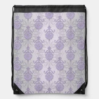 Lavender and Silvery Grey Damask Drawstring Bag