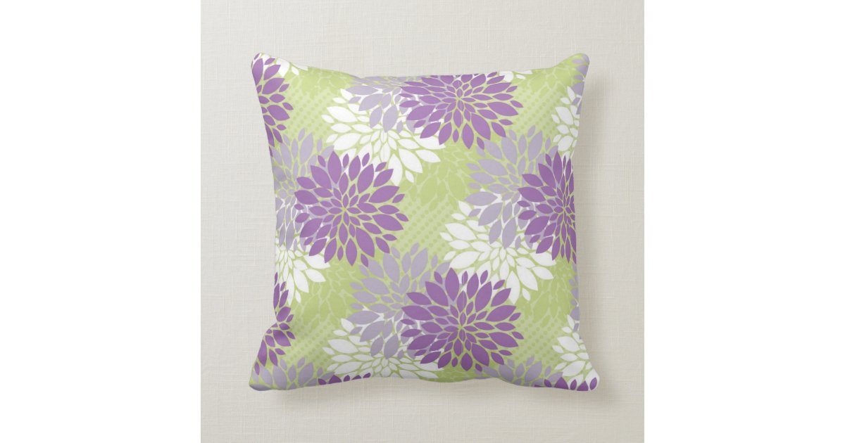 Lavender and Spring Green Home Decor Throw Pillow Zazzle