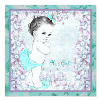 """Lavender and Teal Blue Baby Shower 5.25"""" Square Invitation Card"""