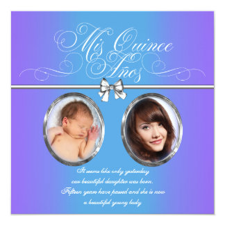 Lavender and Teal Blue Purple Photo Quinceanera Card