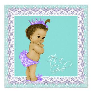 Lavender and Teal Blue Vintage Baby Girl Shower Custom Invitation