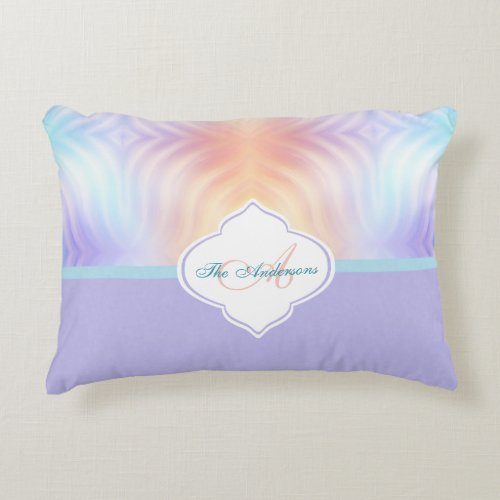 Lavender and Teal Monogram Color Block Accent Pillow
