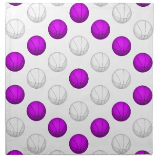 Lavender and White Basketball Pattern Cloth Napkin