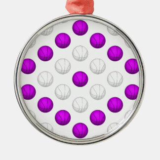 Lavender and White Basketball Pattern Metal Ornament