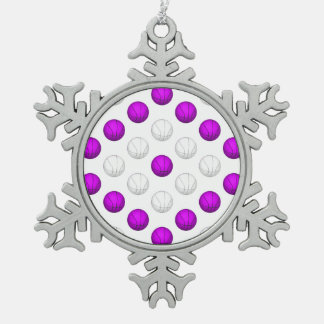 Lavender and White Basketball Pattern Snowflake Pewter Christmas Ornament