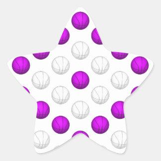 Lavender and White Basketball Pattern Star Sticker