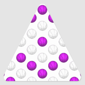 Lavender and White Basketball Pattern Triangle Stickers