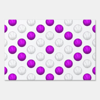 Lavender and White Basketball Pattern Sign