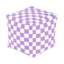 Lavender and White Checked Footstool Outdoor Pouf