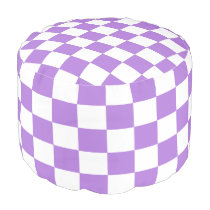 Lavender and White Checked Pouf
