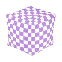 Lavender and White Checkered Pouf