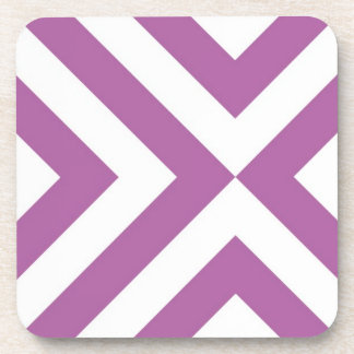 Lavender and White Chevrons Beverage Coaster