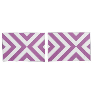 Lavender and White Chevrons Geometric Pattern Pillow Case