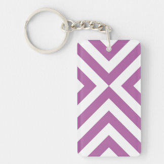 Lavender and White Chevrons Keychain