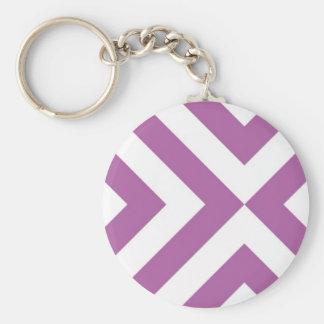 Lavender and White Chevrons Basic Round Button Keychain