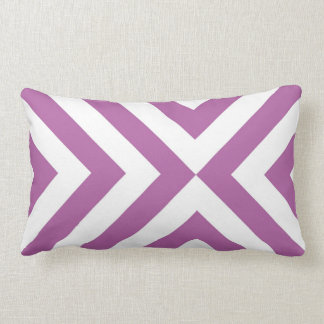 Lavender and White Chevrons Lumbar Pillow