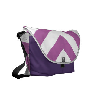 Lavender and White Chevrons Messenger Bags