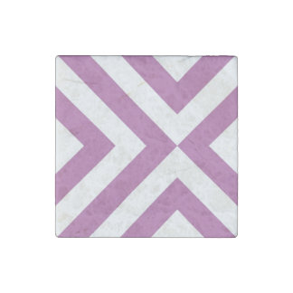 Lavender and White Chevrons Stone Magnet