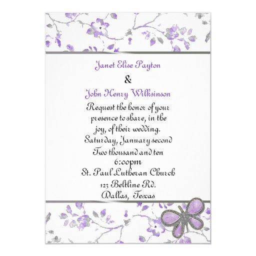 Lavender and White Cottage Chic Wedding Invitation
