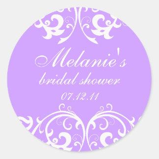 Lavender and White Damask Bridal Shower Sticker