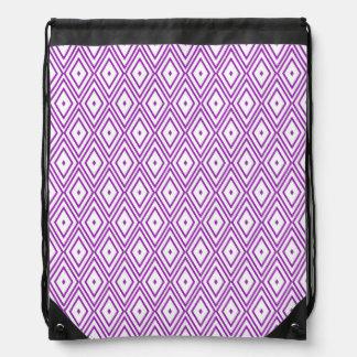 Lavender and White Diamond Pattern Drawstring Backpack