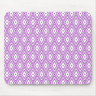 Lavender and White Diamond Pattern Mouse Pad