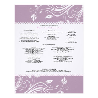 Lavender and White Floral Swirls Wedding Program Personalized Letterhead