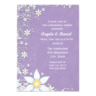 Lavender and White Floral Wedding Rehearsal Dinner Card