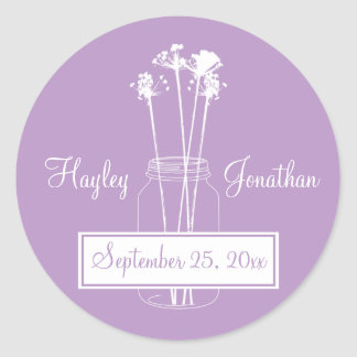 Lavender and White Mason Jar Save The Date Classic Round Sticker
