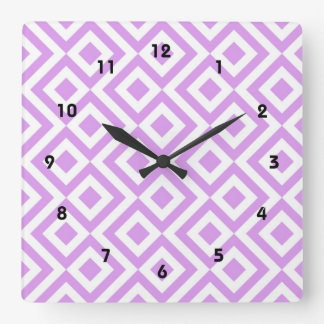 Lavender and White Meander Square Wallclock
