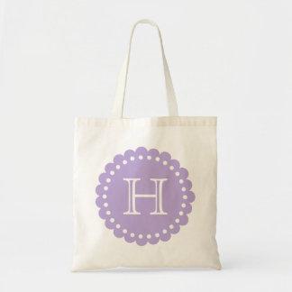 Lavender and White Polka Dot Flower Monogram Tote Bag