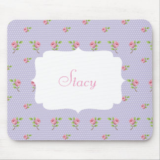 Lavender and white polka dot with pink roses mouse pad