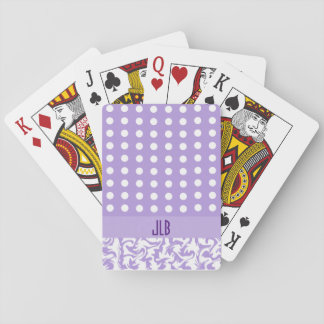 Lavender and White Polka Dots Deck Of Cards