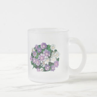 Lavender and White Stokes Asters Frosted Glass Coffee Mug