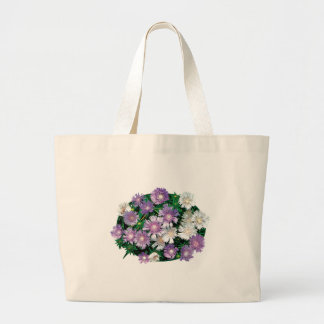 Lavender and White Stokes Asters Large Tote Bag