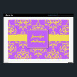 "Lavender and Yellow Damask Laptop Skin<br><div class=""desc"">Stylish 17&quot; laptop skin done in lavender with a yellow damask pattern. A yellow stripe runs across the middle, with a yellow edge lavender square text area. Personalize the yellow script text to suit your needs. Great way to personalize your laptop with a fun look everyone will ask you about....</div>"