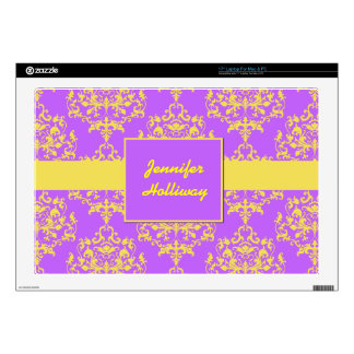 Lavender and Yellow Damask Laptop Skin