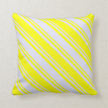 [ Thumbnail: Lavender and Yellow Lines/Stripes Pattern Pillow ]