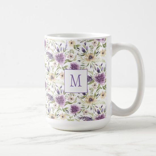 Lavender and Yellow Watercolor Floral Monogram Coffee Mug