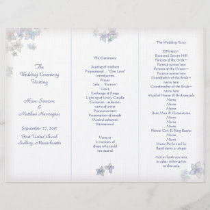 lavender art tri fold wedding program template