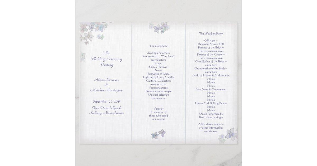 Lavender Art Tri Fold Wedding Program Template Zazzle Com