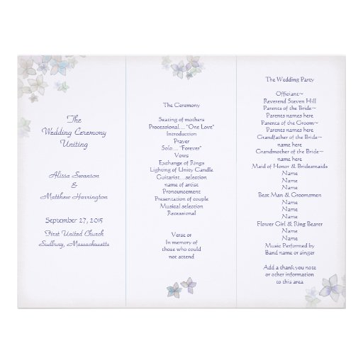 Lavender Art Tri-Fold Wedding Program Template   Zazzle