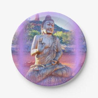 lavender aura buddha paper plate