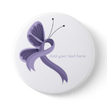 Lavender Awareness Ribbon Butterfly  Button